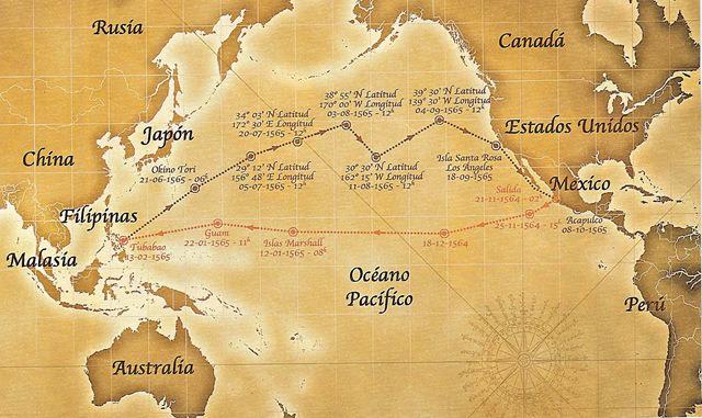 Rutas marítimas trazadas por Urdaneta