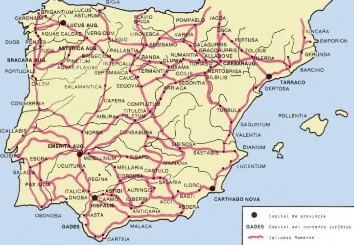 La evolucin del mapa de carreteras de Espaa de los romanos a la